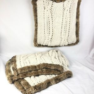 Rare pottery barn chunky knit throw & pillow cover